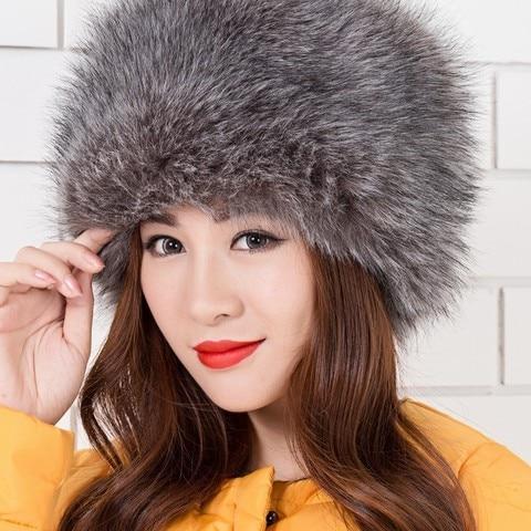 2018 Women Hats Lady Russian Tick Fluffy  Imitation Fox Fur Hat Headband Winter Earwarmer Ski Hat Female Hats For Autumn Winter Lahore