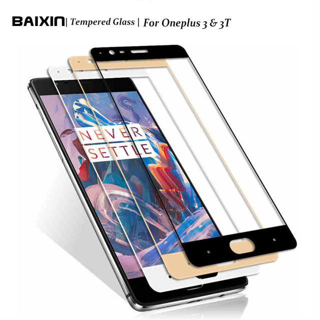 Baixin 2.5D Full Cover Tempered Glass For Oneplus 3 A3000 Oneplus 3T A3010 Full Screen Protector Front Film Cover Case