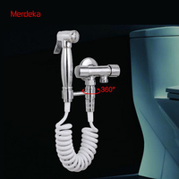 Bidet Sprayer With Copper Valve Control For Toilet Washing Brass Bidet Shower Head Chrome Finish With Swivel Connector