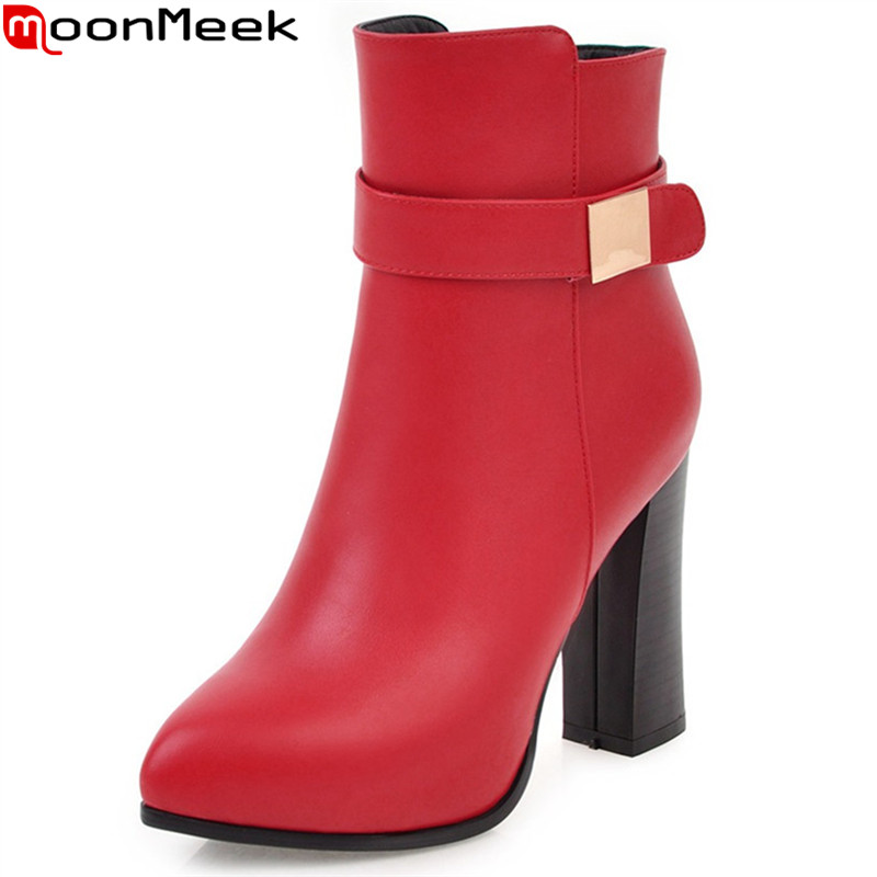 MoonMeek fashion autumn winter women boots pointed toe zipper ladies boots black red gray super high ankle boots big size 34-43 armoire hot sales black yellow red brown gray flats women slouch ankle boots solid ladies winter nude shoes aa 3 nubuck