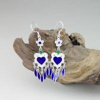 Blue Korean Earrings For Women Heart Earing 999 Sterling Silver Jewelry Cloisonne Enamel Chinese Handmade Tassel Dangle Earings