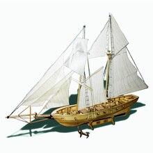 Assembling Building Kits Ship 3D Model Wooden Sailboat Toy Harvey Sailing DIY Assembled Toys Hobbies Gift For Children Adult K19