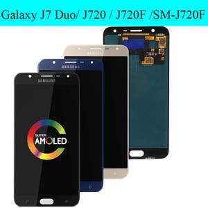 Image 2 - Süper AMOLED 5.5 SAMSUNG Galaxy J7 Duo 2018 J720 J720F AMOLED LCD ekran dokunmatik ekran Digitizer meclisi ayarlanabilir