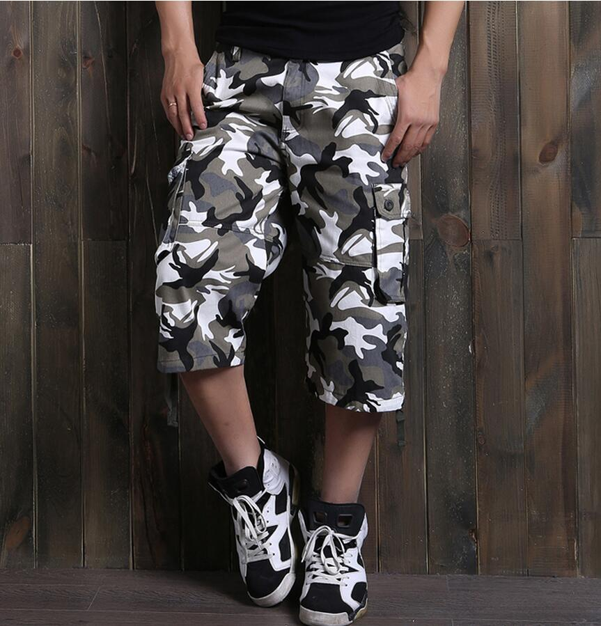 Men's Large Size Camouflage Cargo Shorts New Fashion Summer Male Army Green Tooling Shorts Short Pants Size 46