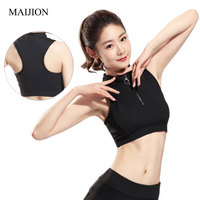 MAIJION Women Tops Half Zipper Crop Bra Fitness Stretch Tank With Padded Sleeveless Shirt Slim Workout