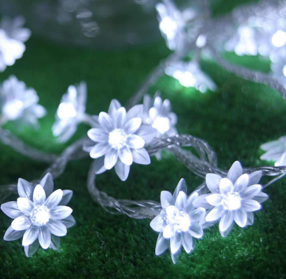 Фото AC220V цветок лотоса лампы светодиодный Строка Фея Света Для дома и улицы украшение