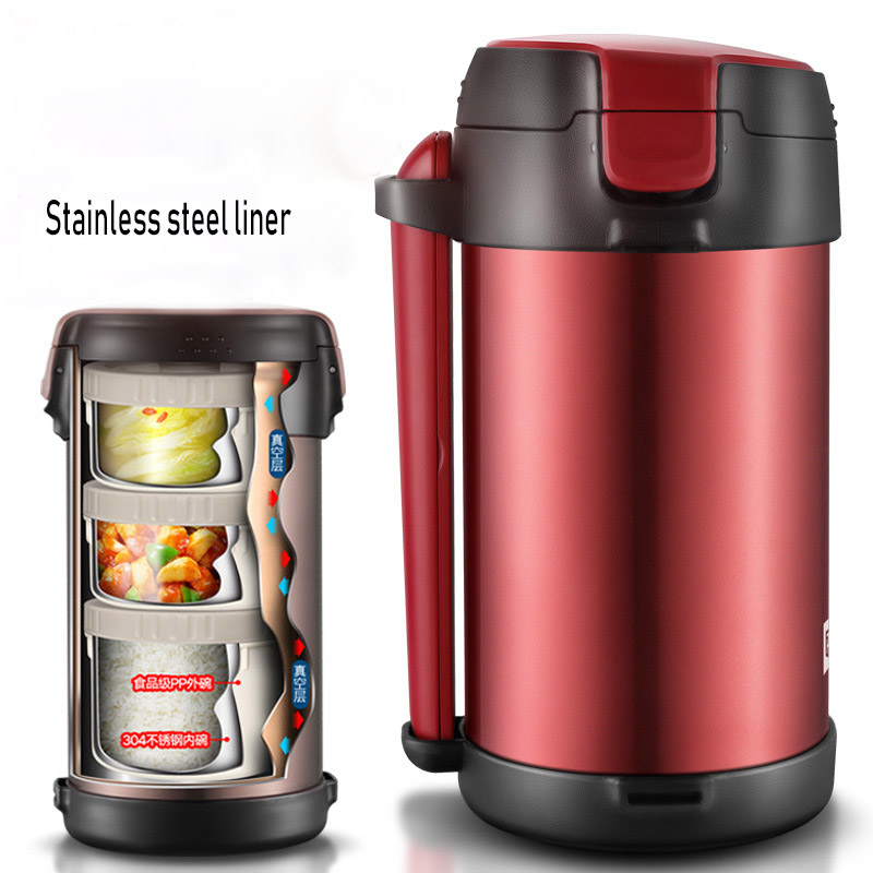c775e4827027 US $54.04 53% OFF|Stainless Steel Insulated Lunch Box 3 Layer Student Adult  Bento Box Large Capacity Vacuum Insulation Barrel 12 Hours for Winter-in ...