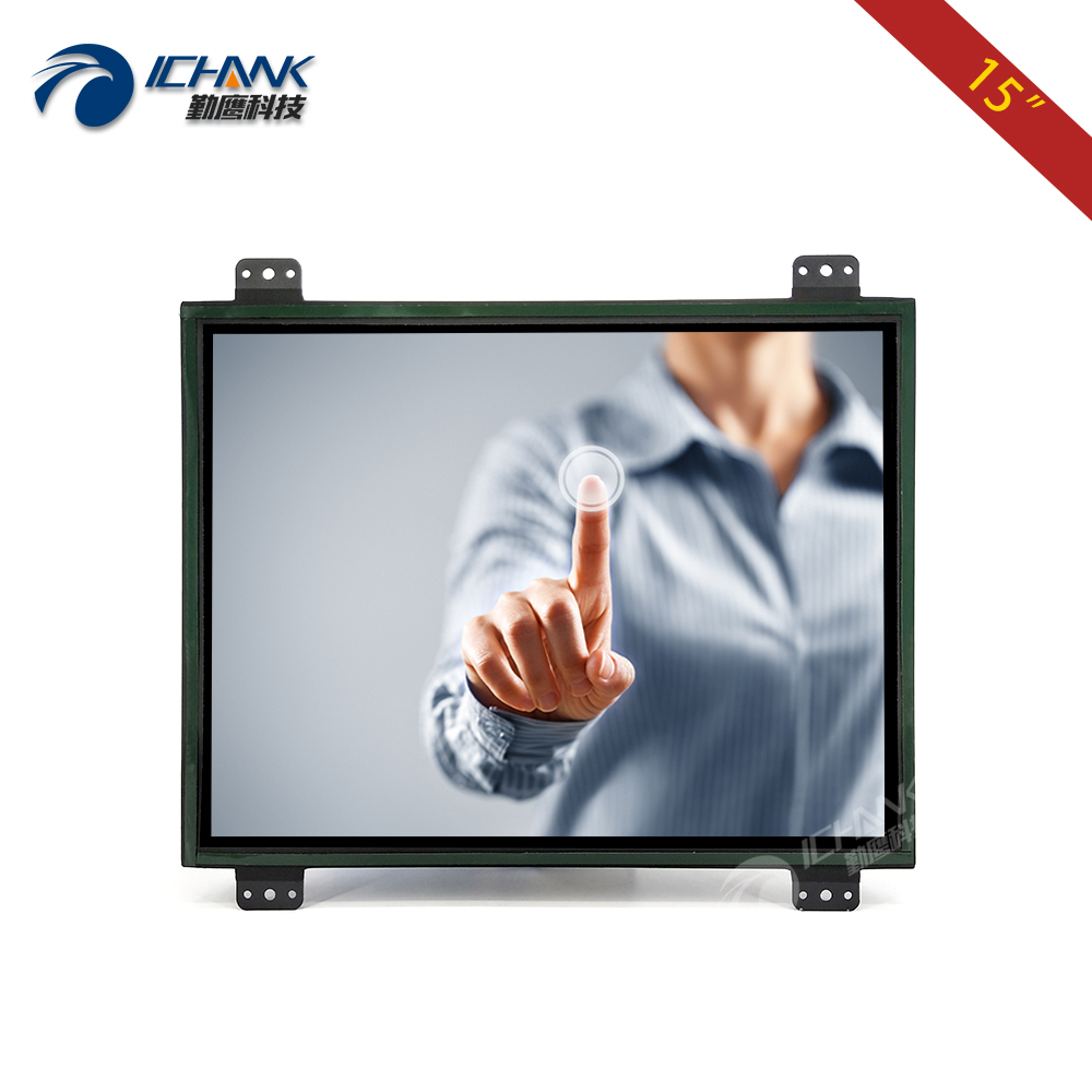 "K150TC-DUV-1/15 tums öppet ram Touch Monitor / 15 ""inbyggd metallfodral Touch Display / 15"" Anpassningsbar 1024x768 Touch LCD-skärm"