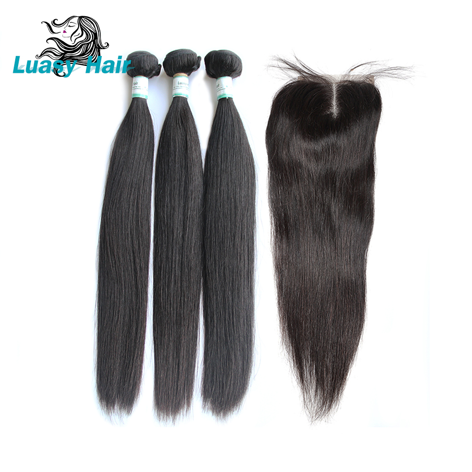 Luasy Peruvian Straight Human Hair Bundles With Closure 100% Remy Human Hair Weave 3 Bundles With Lace Closure Natural Color