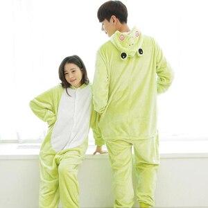 Image 1 - Для взрослых зеленый Лягушка животных кигуруми цельный женский и мужской вечерние Аниме косплей костюмы комбинезоны мягкие забавные мультяшные пижамы для девочек и мальчиков