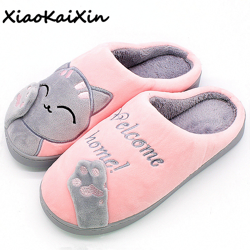 Couples Winter Warm Home Slippers Women Cartoon Lucky cat Non-slip Home Shoes Men Lovers Plush House Shoes can be worn outside fashion lovers striped home indoor floor slippers winter women confinement warm foot slipper men casual house non slip shoe
