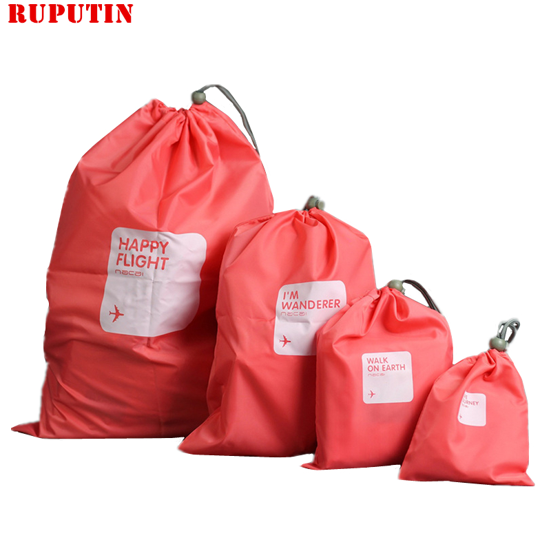RUPUTIN 4Pcs/Set Travel Drawstring Dry Storage Shoe Laundry Bag Makeup Pouch For Cosmetic Underwear Organizer Travel Accessories