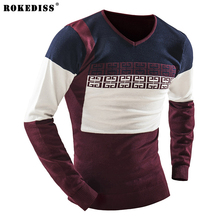 ROKEDISS Men's sweaters 2017 winter new men Slim fit round neck sweater Fashion stripes stitching men's warm shirt male sweater