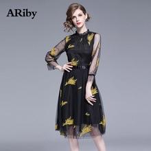 купить Women Mesh Dress Elegant Summer Black Dress 2019 New Office Lady Gold Embroidery Slimming Stand Collar Flare Sleeve A-line Dress дешево