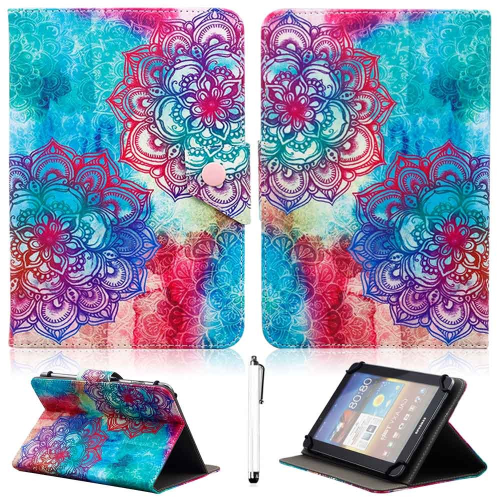 Universal 9.7 10 10.1 inch Tablet Case Flip Stand PU Leather Cover Case Mandala Totem Print Protective Shell Free stylus portable speaker 4 0 bluetooth wireless speakers bass guitar amplifier mini electric guitar amplifiers for iphone mobile phone