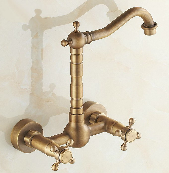 Antique Brass Wall Mounted Double Cross Handle Bathroom Basin Mixer Tap Cnf052Antique Brass Wall Mounted Double Cross Handle Bathroom Basin Mixer Tap Cnf052