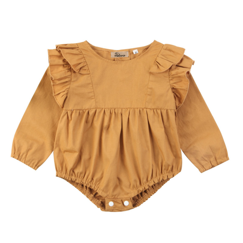 Cute Infant Newborn Baby Girls Kids Cotton Ruffles Long Sleeve Romper Tops One-Piece Jumpsuit Clothes Outfit Clothing Set 0-2Y