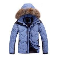 2019 New Winter Men Down Jacket Warm Down Coats White Duck Down Real Raccoon Fur Hooded Down Jackets Feather Jacket Men Outwear