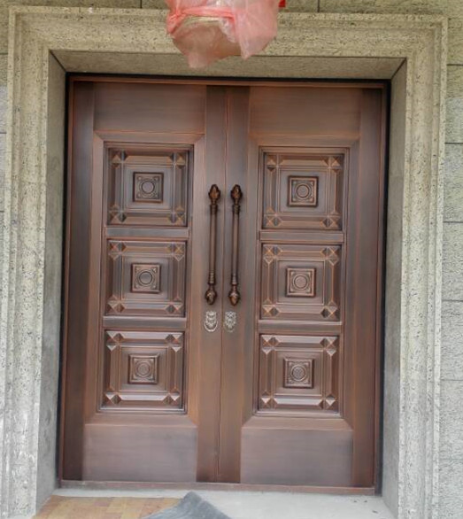 Bronze Door Security Copper Entry Doors Antique Copper Retro Door Double Gate Entry Doors H-c22