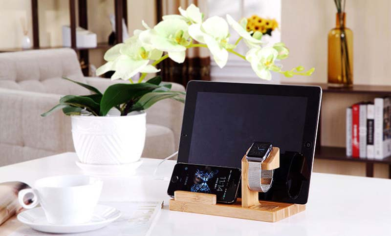 Multifunctional Bamboo USB Charging Dock/Holder for Apple Watch iPhone iPad 11