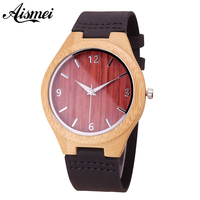 2018 Top Luxury Brand Wood Watches Men S Unique 100 Nature Wooden Bamboo Handmade Red Face