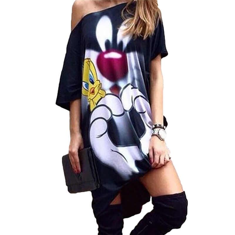 Pista Vestido de Verão de Algodão Dos Desenhos Animados Imprimir Vestido Mulheres Mickey Mous Barra Do Pescoço Manga Curta Vestido Ocasional Dos Desenhos Animados Vestido Solto Curto