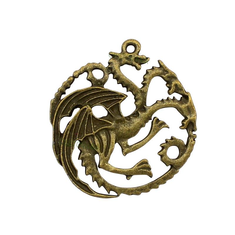 20pcs-Antique Bronze 2 Sided Dragon Charms Pendant 36x32mm