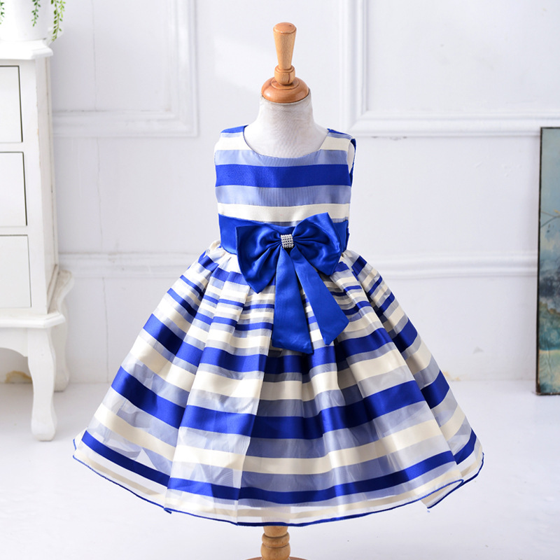 2018 Baby Girl Dress Princess Tutu Dress Wedding Stripe Gown Dress for Girls Clothes for Kids Party Wear Meninas Vestidos