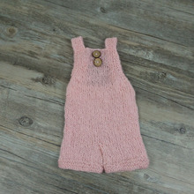 Newborn photography props soft mohair baby boy girls costume handmade knit buttons romper outfit baby photo props accessories