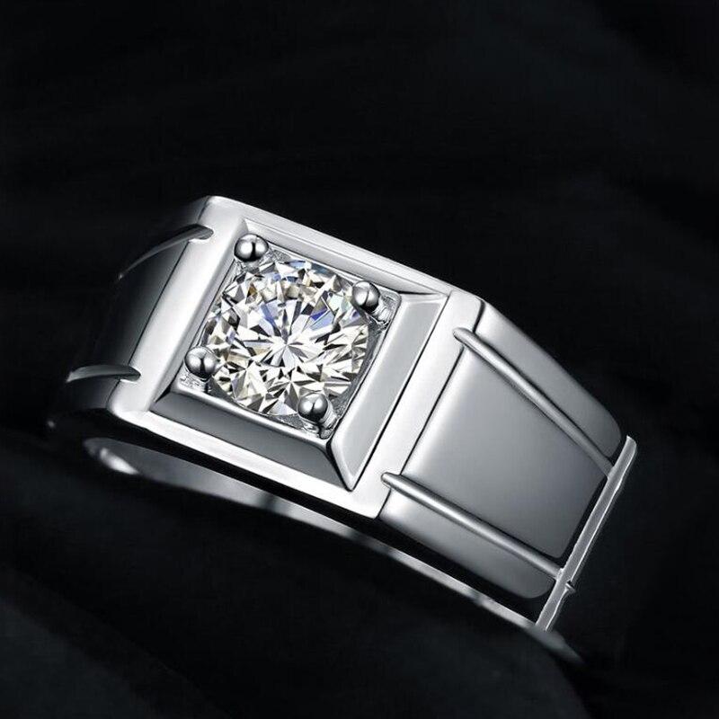 Bague homme Vintage réglable série de luxe Somen AAAAA blanc zircon cubique en argent Sterling cristal bague de mariage homme