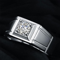 Somen Luxury Series Adjustable Vintage Mens Ring AAAAA White Cubic Zirconia Sterling Silver Crystal Male Wedding Promise Rings