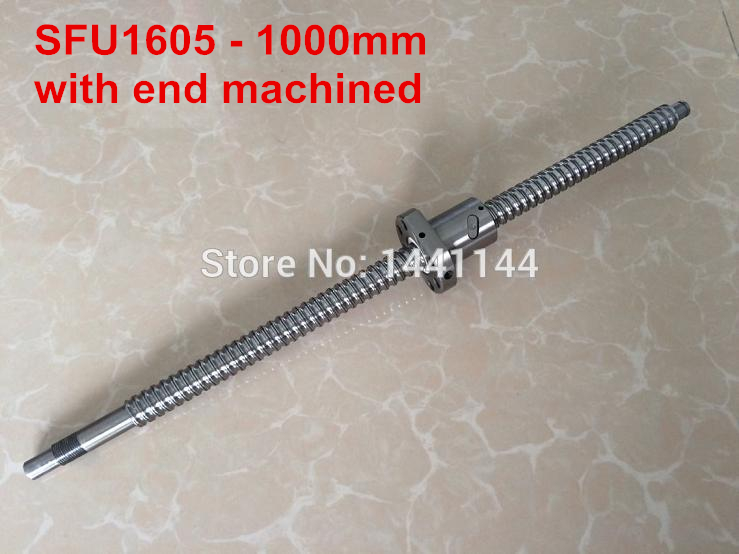 1pc SFU1605 Ball Screw  1000mm BK12/BF12 end machined + 1pc 1605 BallScrew Nut for CNC Router1pc SFU1605 Ball Screw  1000mm BK12/BF12 end machined + 1pc 1605 BallScrew Nut for CNC Router