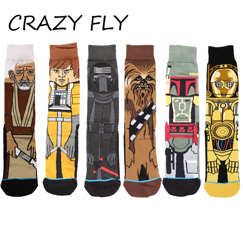 CRAZY FLY 2019 Cotton Star Wars Cartoon Character Men Art Happy   Socks   Tube Stylish Comfortable Deodorant Funny   Socks   for Women
