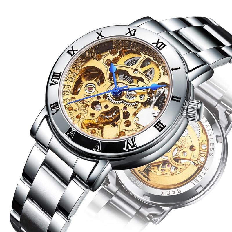лучшая цена Automatic Mechanical Watch Woman Hollow Steel Watch Top Brand Luxury Ladies Sports Watches Roman Scale Waterproof Female Clock