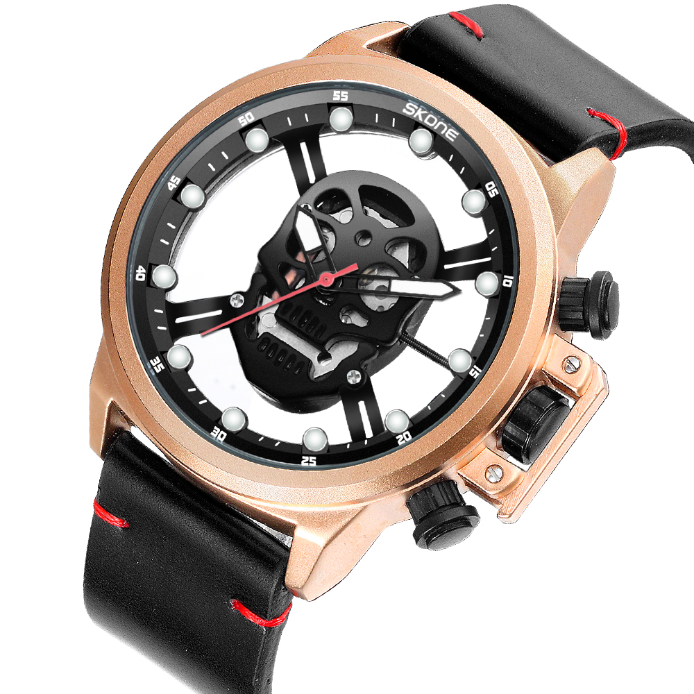 Watch SKONE Male Unique Design Transparent Skull Watches Men Luxury Brand Quartz Military Leather Wrist Watch Relogio Masculino skone genuine pirate skull style quartz men watches brand men military leather men sports watch waterproof relogio masculino