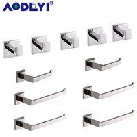 AODEYI банное Оборудование Набор 5 крючков для халатов 2 бумажные держатели 4 кольца для полотенец полотенце бары нержавеющая сталь аксессуары