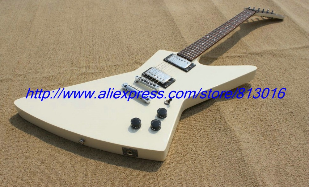 Hot ! customised electric guitar explore guitar white color chrome parts ,rosewood fingerboard! hot electric guitar jazz hollow body guitar black color chrome parts customised headstock shape