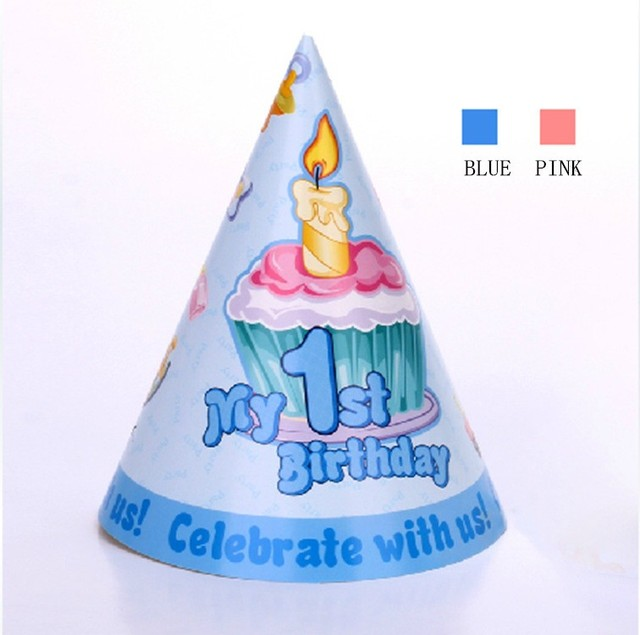 Riscawin 6pcs Lot My 1st Birthday Party Supplier Lovely Decoration Cap For 1 Year Old Baby Blue Or Pink Color Hat