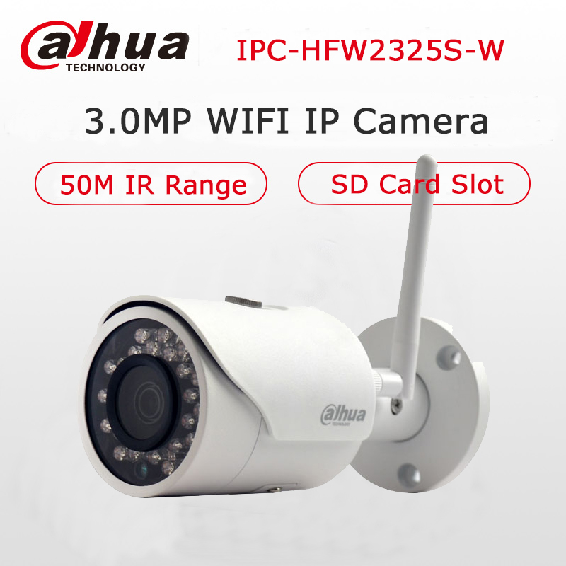 Dahua 3MP IP Camera DH-IPC-HFW2325S-W WIFI Camera 50M Night Vision IP67 Water proof Wireless SD Card Slot Network Bullet Camera card king kw 1506n 2 4ghz 150mbps outdoor rain proof lightning proof wireless network card white