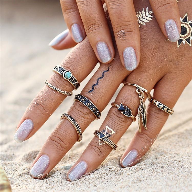 HTB1JVA1OFXXXXazXFXXq6xXFXXXE Women 8-Pieces Gold Tone Retro Antique Punk Style Spirituality Lucky Knuckle Ring Set