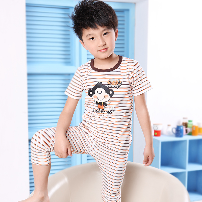 031ed1b65 Cartoon Boys Pajama Set Summer Stripe Kid Pajama Infant Short Sleeve ...