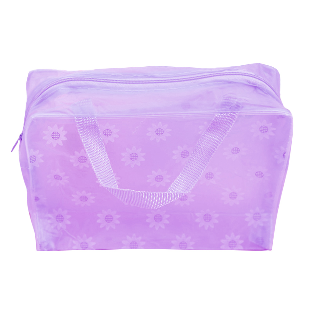 Fashion Transparent Travel Floral Print Bathing Pouch Makeup Storage Bag Sundries Organizer Waterproof Pocket Zipper Handheld