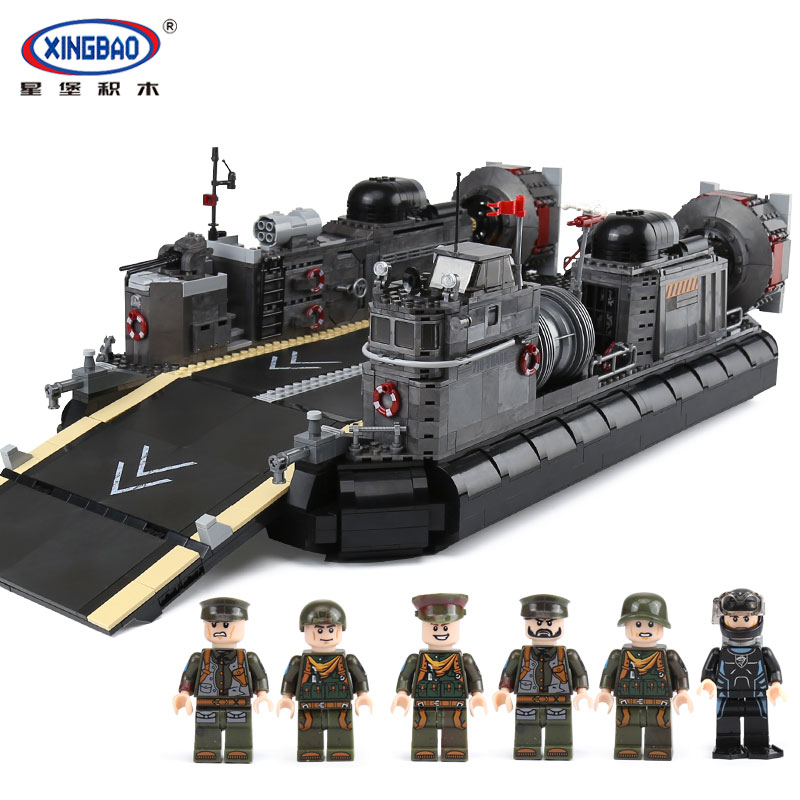 XINGBAO 06019 Genuine Military Series The Amphibious Transport Ship Set Building Bricks Blocks legoingly Toys As Christmas Gifts black pearl building blocks kaizi ky87010 pirates of the caribbean ship self locking bricks assembling toys 1184pcs set gift