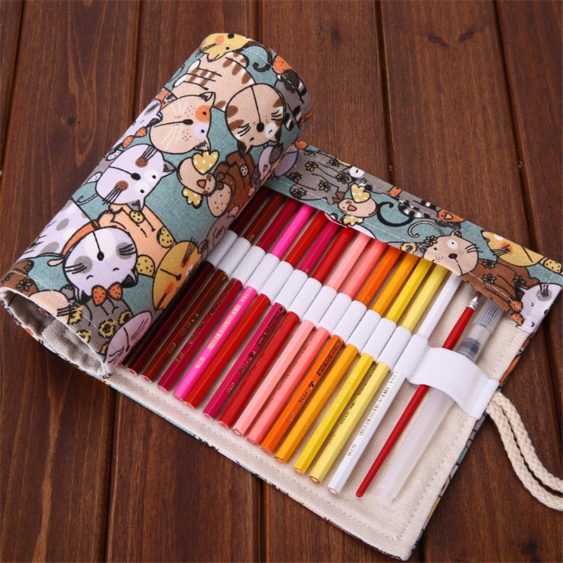 Kawaii Cute Cat Cometary Roll Pencil Case Canvas 36/48/72 Holes School Pencilcase Penal for Boys Girls Pen Bag Stationery Pouch cute canvas roll school pencil case maple leaf 36 48 72 holes penal pencilcase for girls boys large pen bag stationery pouch box