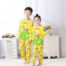 2018 spring round neck cartoon pajamas suit men and women long-sleeved cute pajamas lively home service for kids autum sleepwear(China)
