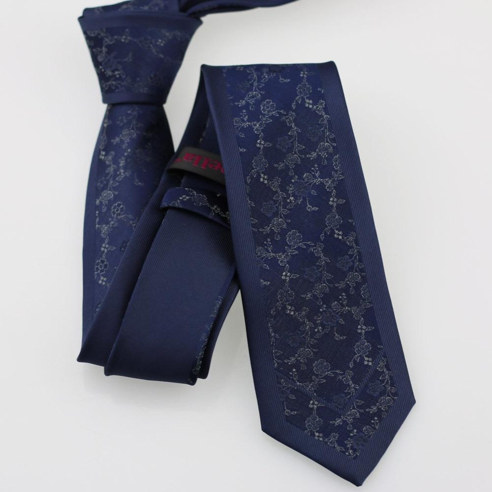 Yibei Coachella Галстуки Темно-синие галстук граничит с серым цветочным рисунком мужские шеи Галстуки Узкие жаккардовые модные corbatas Hombre