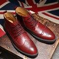 2016 Hombres Zapatos de Tacones Altos De Cuero Suave Botas Vestido de Tobillo A Prueba de agua Hombres Brogue Zapatos Martin Botas de Punta redonda Botas Clásico Caliente ventas