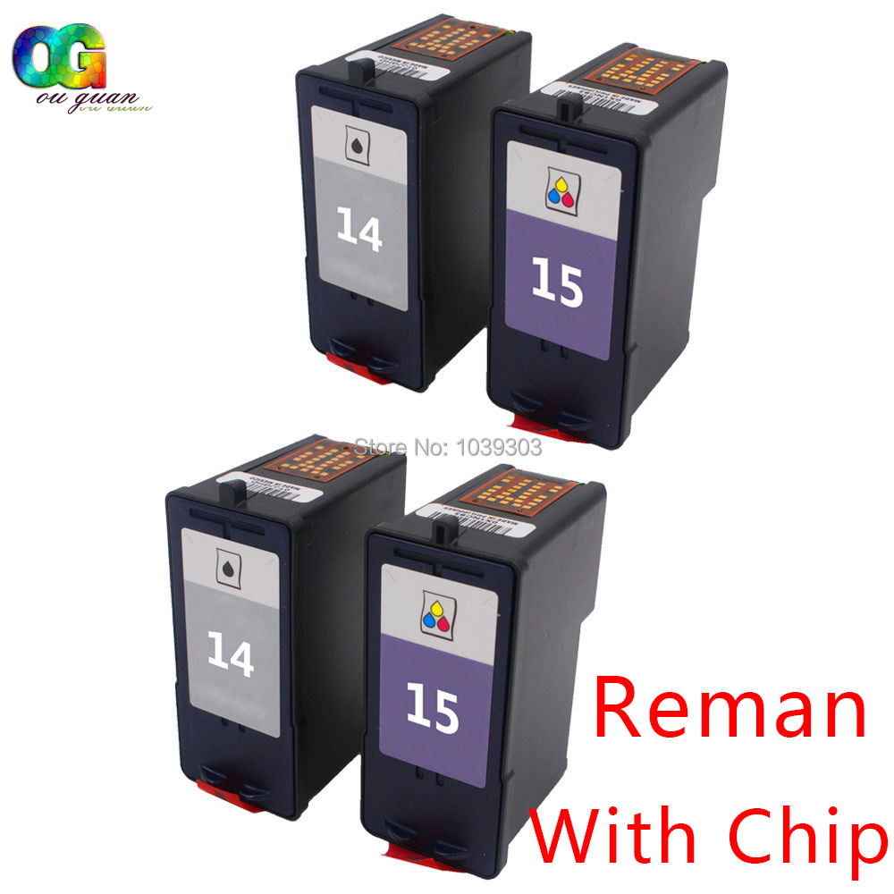 4 Combo Pack 14 15 Ink Cartridge 18C2090 18C2110 Set Compatible For Lexmark X2630 X2620 HY