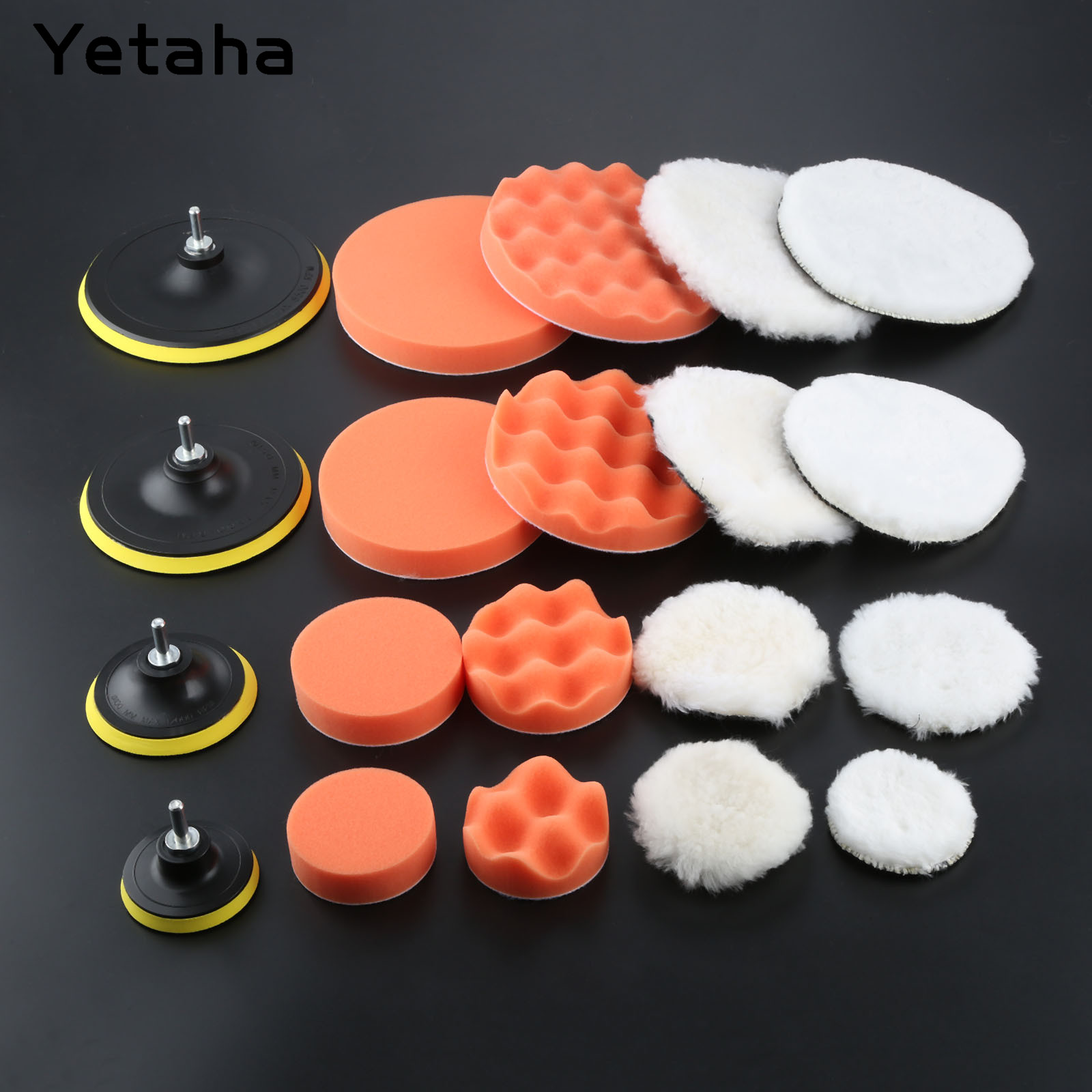 6Pcs 3/4/6/7 Inch Gross Polishing Buffing Pads Kit Car Polisher +M14 Drill Adapter Car Polish Sponge Wheel Kit Car Wash Cleaning