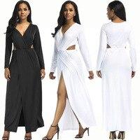 Floor Length Dresses Sexy Images Deep V Necks Split White Black Women 2018 Spring New Style Dress
